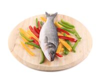 Fresh seabass fish on wooden platter. Stock Photo