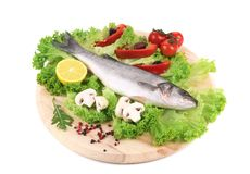 Fresh seabass on platter with lettuce. Isolated on a white background Stock Image