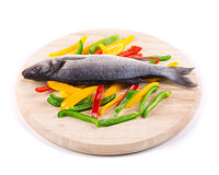 Fresh seabass and vegetables Royalty Free Stock Photography