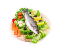 Fresh seabass and vegetables Stock Photography