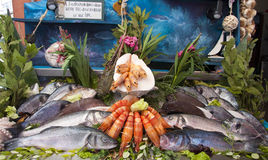 Fresh seafood. Arrangement displayed in market Royalty Free Stock Images