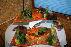Fresh seafood. Decorated with fresh seafood on a platter Royalty Free Stock Photos