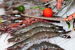 Fresh seafood in asian market. Lobsters prawns and fish Stock Photos