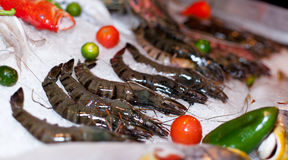 Fresh seafood in asian market. Lobsters prawns and fish Royalty Free Stock Photography