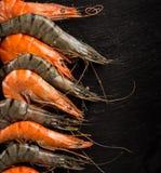 Fresh seafood on black stone. Royalty Free Stock Photos