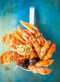 Fresh seafood on blue background. Fresh seafood catch of lobsters, crabs, and langostines on blue background, retro toned Stock Image