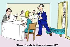 Fresh Seafood. Cartoon of customer asking waiter, how fresh is the calamari, as the calamari is alive and grabbing the waiter's leg Royalty Free Stock Photos