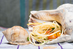 Fresh seafood, clams and cockles prepared Royalty Free Stock Image
