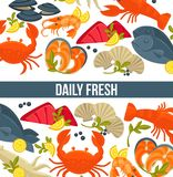 Daily fresh seafood commercial banner with exotic food Stock Images