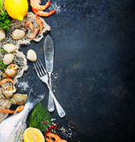 Fresh seafood. Delicious fresh fish and seafood on dark vintage background. Fish, clams and  shrimps with aromatic herbs, spices and vegetables - healthy food Stock Photos