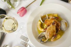 Fresh seafood dinner plate. Royalty Free Stock Photo