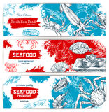 Fresh seafood and fish food sketch banners. Seafood sketch banners set with fish food sushi rolls and sashimi, fresh lobster and crab, salmon grilled steak Royalty Free Stock Image