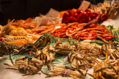 Fresh seafood in fish market Stock Photo