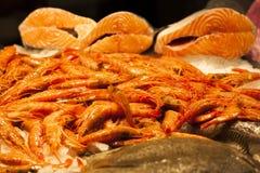 Fresh seafood at fish market Stock Image