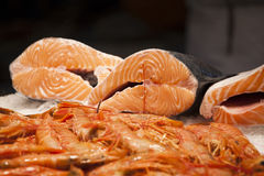 Fresh seafood at fish market Royalty Free Stock Photo