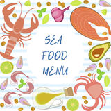 Fresh seafood flat design Royalty Free Stock Images