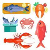Fresh seafood flat vector illustration fish gourmet delicious restaurant cooking gourmet sea food meal. Stock Images