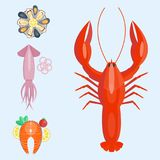 Fresh seafood flat vector illustration fish gourmet delicious restaurant cooking gourmet sea food meal. Stock Image