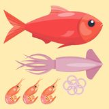Fresh seafood flat vector illustration fish gourmet delicious restaurant cooking gourmet sea food meal. Royalty Free Stock Image