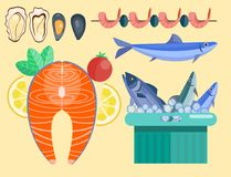 Fresh seafood flat vector illustration fish gourmet delicious restaurant cooking gourmet sea food meal. Royalty Free Stock Photo