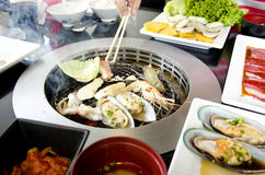 Fresh seafood Grill Koren style. Mix Royalty Free Stock Photography