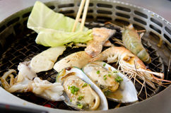 Fresh seafood Grill Koren style. Mix Royalty Free Stock Photos