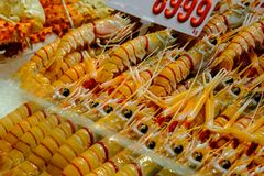 Fresh Seafood : Group Of Big Shrimps On Ice at fish market in Sy Royalty Free Stock Photography