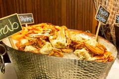 Fresh Seafood on ice in buffet line. A Fresh Seafood on ice in buffet line stock photography