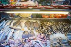 Fresh seafood on ice in market. Food royalty free stock images
