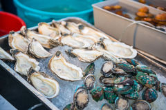 Fresh seafood on ice in market. Food royalty free stock photo