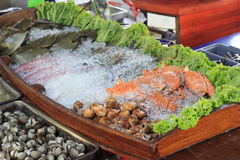 Fresh Seafood. On ice at the restaurant Royalty Free Stock Image