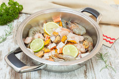 Fresh Seafood  with ingredients Stock Photos