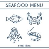 Fresh Seafood Vector Icons Set. Fresh Seafood linear icons with fish, octopus, shrimp, crab. Vector emblems set for seafood shops or restaurants Royalty Free Stock Photos