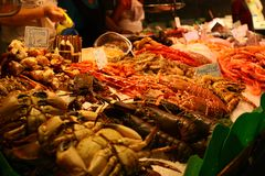 Fresh seafood in market hall stock photography