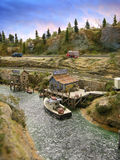 Fresh Seafood Model. Model railroad river scene with buildings Stock Photo