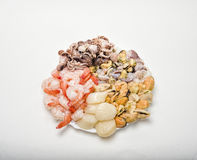 Fresh seafood on a plate. Great variety of fresh seafood lying on a plate Stock Photo