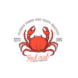 Fresh seafood. Red crab seafood restaurant. Hand drawn crab illustration isolated on white background. Design element for logo, label, emblem, sign Royalty Free Stock Images