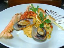 Fresh Seafood risotto in Italy royalty free stock images