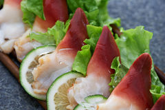 Fresh seafood with salad Stock Images