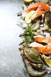 Fresh seafood: salmon steak, crabs and shrimps on stone background. With copy space Royalty Free Stock Image