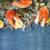 Fresh seafood: salmon steak, shrimps and crabs on stone background. With copy space Royalty Free Stock Photos