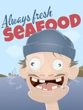 Always fresh seafood with scruffy sailor Royalty Free Stock Photo