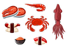 Fresh seafood and sea animals Royalty Free Stock Photography