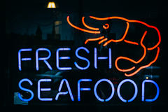 Fresh Seafood sign in Fells Point, Baltimore, Maryland. Stock Photo