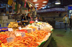 Fresh seafood stand in Barcelona market Royalty Free Stock Images
