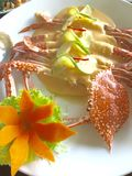 Fresh seafood. Steamed crab with lemon cream sauce Royalty Free Stock Image