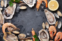 Fresh seafood on stone table Royalty Free Stock Photo