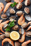 Fresh seafood on stone table. Scallops and shrimps Stock Photo