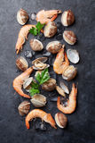Fresh seafood on stone table Stock Photography
