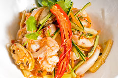 Fresh seafood thai salad Royalty Free Stock Images